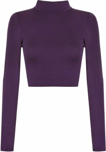 Women/'s Ladies Turtle Polo Neck Crop Top Long Sleeve Short Plain Cropped Top