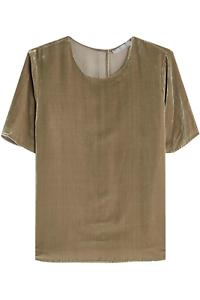VINCE-Sage-Green-Viscose-amp-Silk-Velvet-Short-Sleeve-Relaxed-Cut-Top-SZ-M