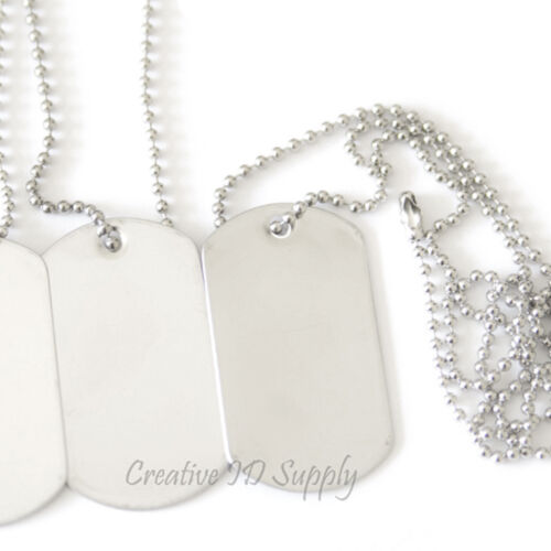 10 BLANK STAINLESS STEEL DOG TAGS SHINY//MATTE MILITARY SPEC WITH//WITHOUT KEY TAG