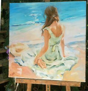 huile /toile  - Jeune femme sur la plage   - signée Alexander SHEVCHUK