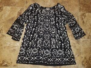 Nwt-Womens-Bila-Shirt-3-4-Sleeve-Peasant-Blouse-Top-Cold-Shoulder-Black-S-M-L