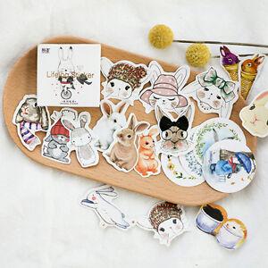 45pcs-Cute-Rabbit-Cartoon-Pattern-PVC-Sticker-Craft-Card-Scrapbook-Deco
