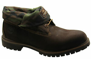 6834a Down Roll Camo 6 in Inch Timberland Top Af da uomo marrone Boots D8 pelle OPq4waA