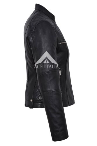 8322 Style Giacca Fashion Black Cool Napa in Retro da pelle Biker donna aw4qUPaB