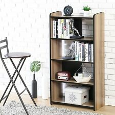5 Shelf Brown Bookcase Wooden Book Case Storage Shelves Wood Bookshelf Library