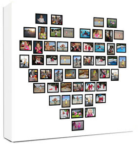 Photo Collage Canvas Bold Heart Shape Ebay