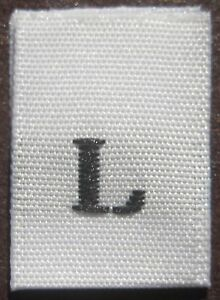 50 PCS WOVEN SEWING CLOTHING LABEL SIZE TAGS WHITE LARGE L