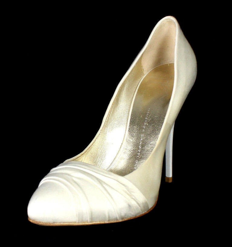 GIUSEPPE ZANOTTI  595 bianca Satin Ruched Vamp Heels Pumps 37.5