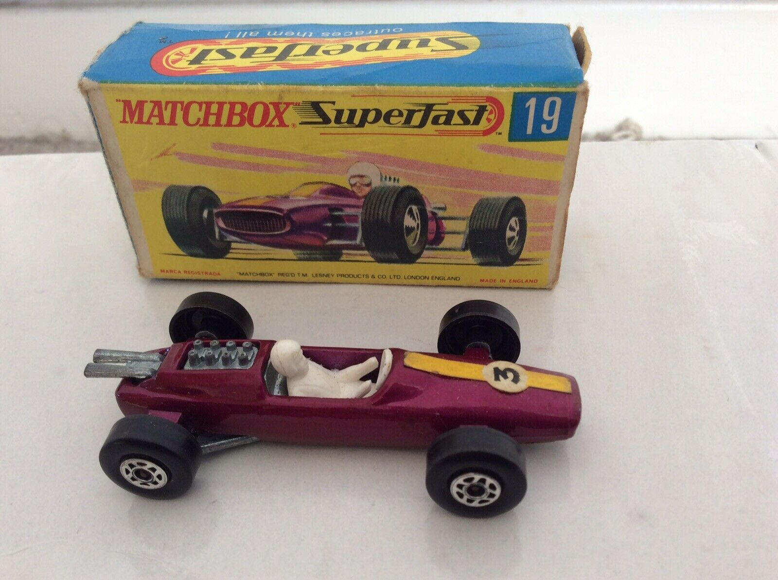 Rare 1960s Matchbox Superfast No.19 Lotus Lotus Racng Car Boxed Very Good Condition