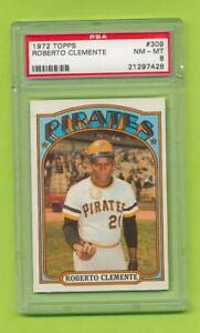 1972-Topps-Roberto-Clemente-309-Pittsburgh-Pirates-PSA-8-NM-MT