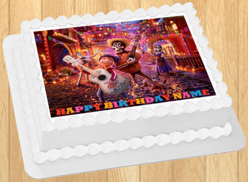 "Edible Disney Coco Cake Topper Birthday Wafer Paper Quarter 1//4 Sheet 8x10.5/"""