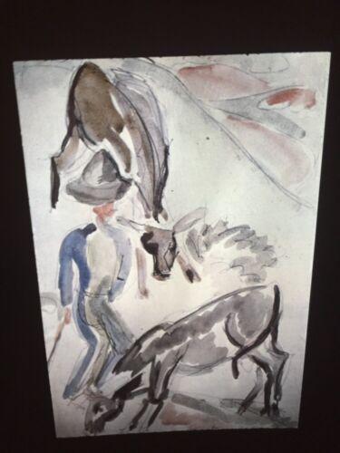 """Ernst Kirchner /""""Shepherd 2 Calves/"""" German Expressionist 35mm Art Slide"""