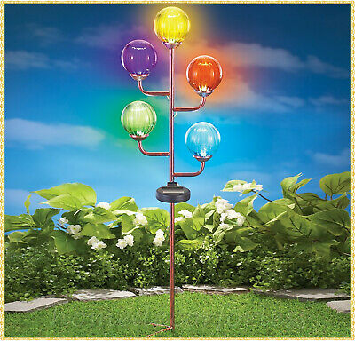 Colorful Crackled Glass 5-Light Gazing Ball Solar Powered Garden Stake