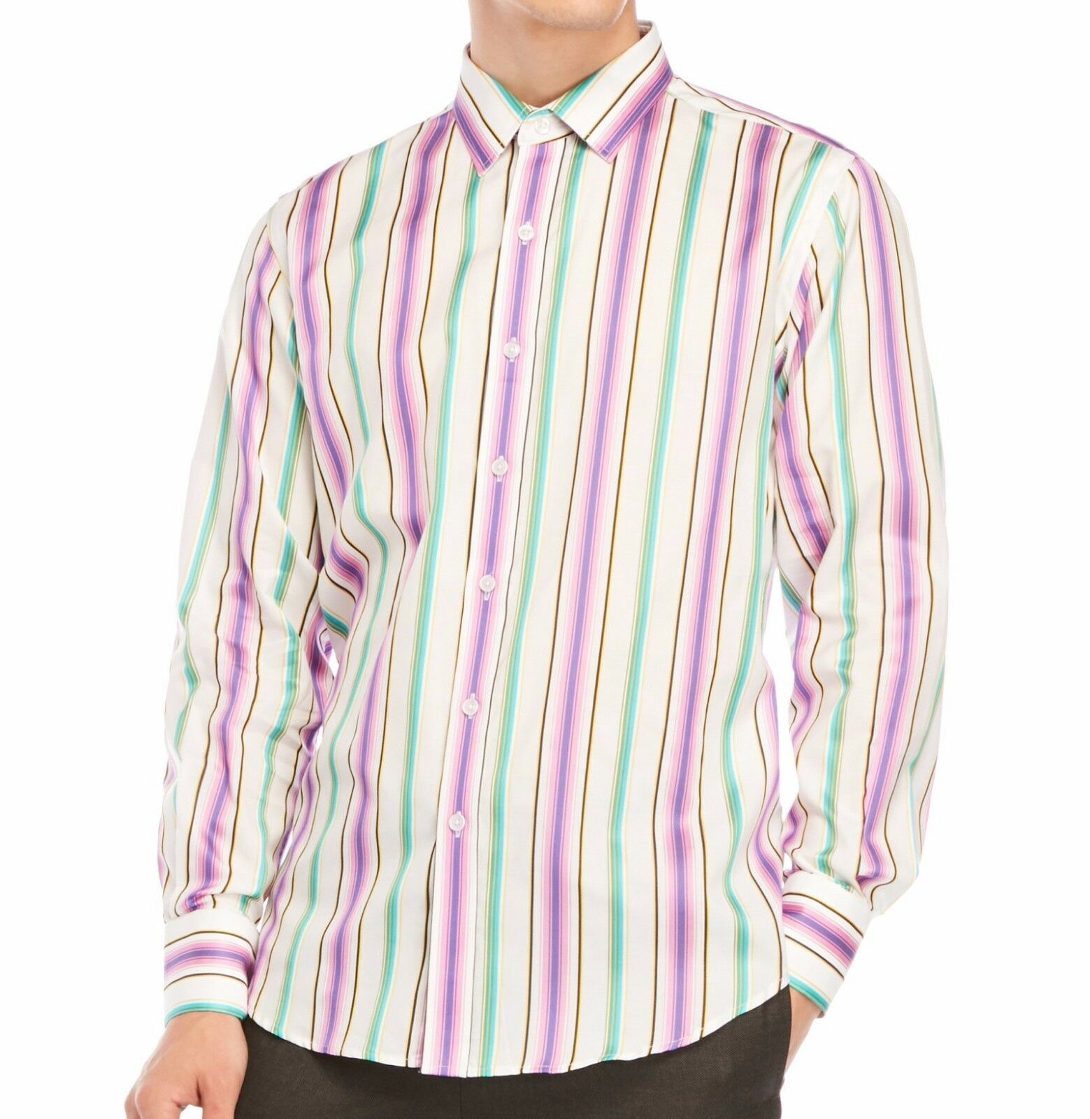 a811732a083 Robert Graham Men s Long Sleeve Sleeve Sleeve Chenworth Striped Button  Front Shirt Purple c5cdb8