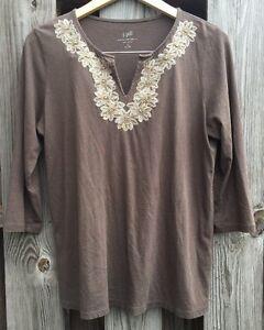 J-Jill-Womens-Petite-Medium-MP-Shirt-Embroidered-Tee-Top-Brown-3-4-Slv-Modal-G7