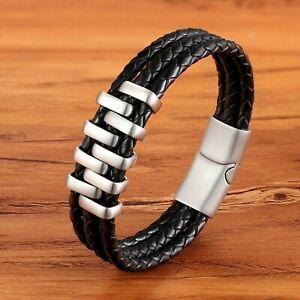 Détails sur Bracelet cuir noir pour homme acier inoxydable fermoir magnétique 21 ou 19 cm