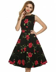 034-JENNY-034-GORGEOUS-LADIES-BLACK-ROSE-SIZE-8-VINTAGE-ROCKABILLY-RETRO-SWING-DRESS