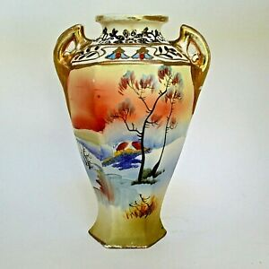 Vintage Hand Painted Japanese Vase Gold Gilt Landscape Japan