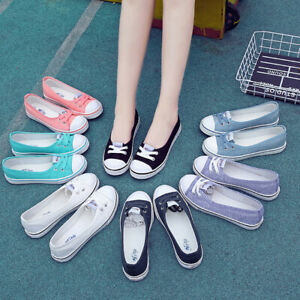 Women-Canvas-Slip-On-Loafers-Flat-Shoes-Boat-Breathable-Girl-Casual-Sneakers