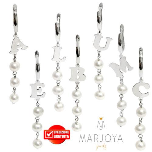 Mono orecchino con iniziale e perle in argento 925 pendente