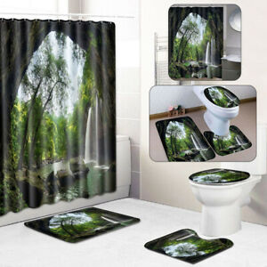 Set-Tulip-Shower-Curtain-Non-Slip-Mat-Bathroom-Rug-Toilet-Cover-Waterproof-Decor