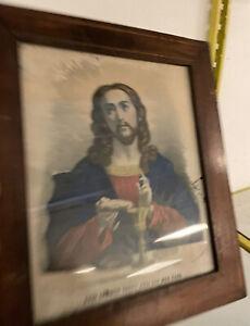Epinal-Gravure-Lithographie-Jesus-Christ-XIXeme-Reliquaire-Ancien-Litho