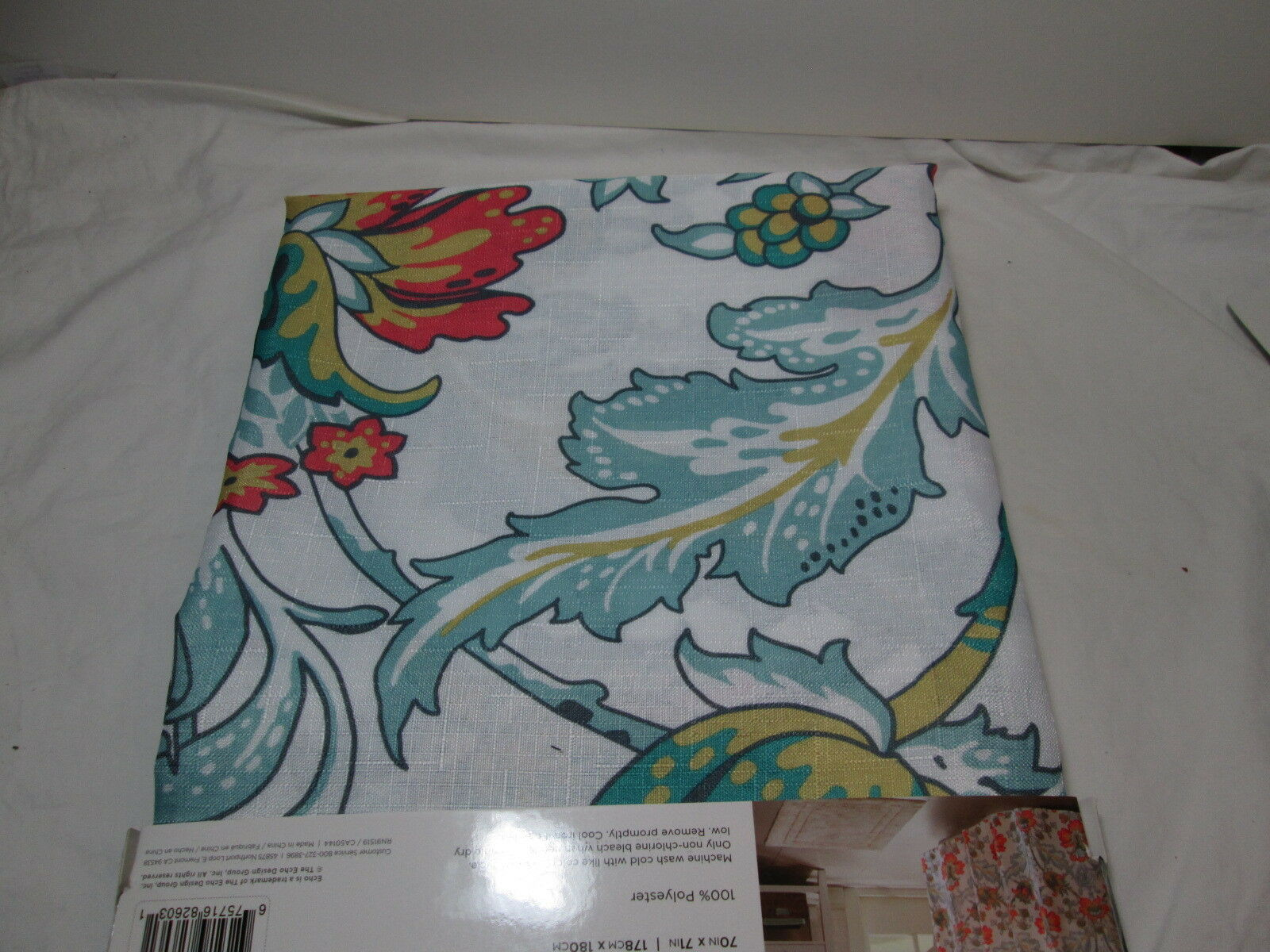 Echo New York MORRISON Floral Shower Curtain With 12 Hooks NEW 7255c6