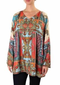 Johnny-Was-Afterglow-Button-Down-Printed-Top-Blouse-New-Boho-Chic-C16718