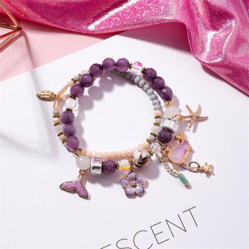 Kristall Schmuck Seestern Blume Anhänger Armband Doppelte Perlenreihe Armband