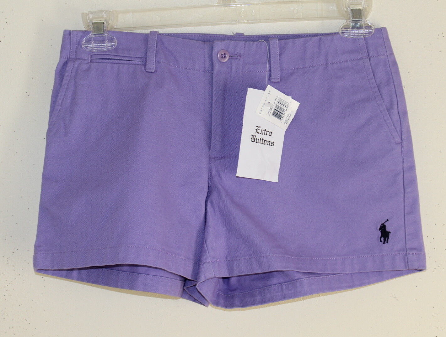 NWT Ralph Lauren Sport- Sz 4 Preppy Lavender Purple Cotton Twill Shorts Womens