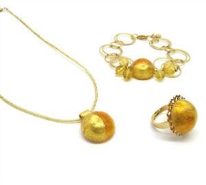 Murano-Glass-Schmuckset-Cabochon-Set-mit-Kette-Armband-Ohrringe-goldfarbig
