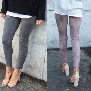 Women-Suede-Leggings-WarmWinter-Slim-Skinning-Pencil-Trouser-Stretch-Pants-New-G