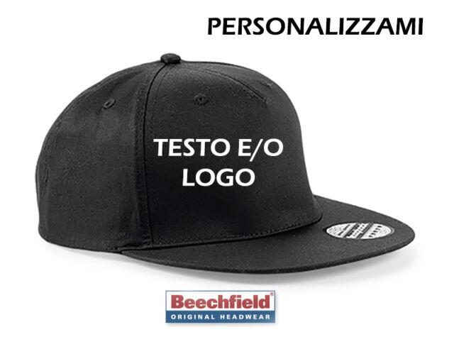 Cappello Cappellino Personalizzato Rap RICAMATO Snapback Beechfield B610  Nero ... fea0449cb82a