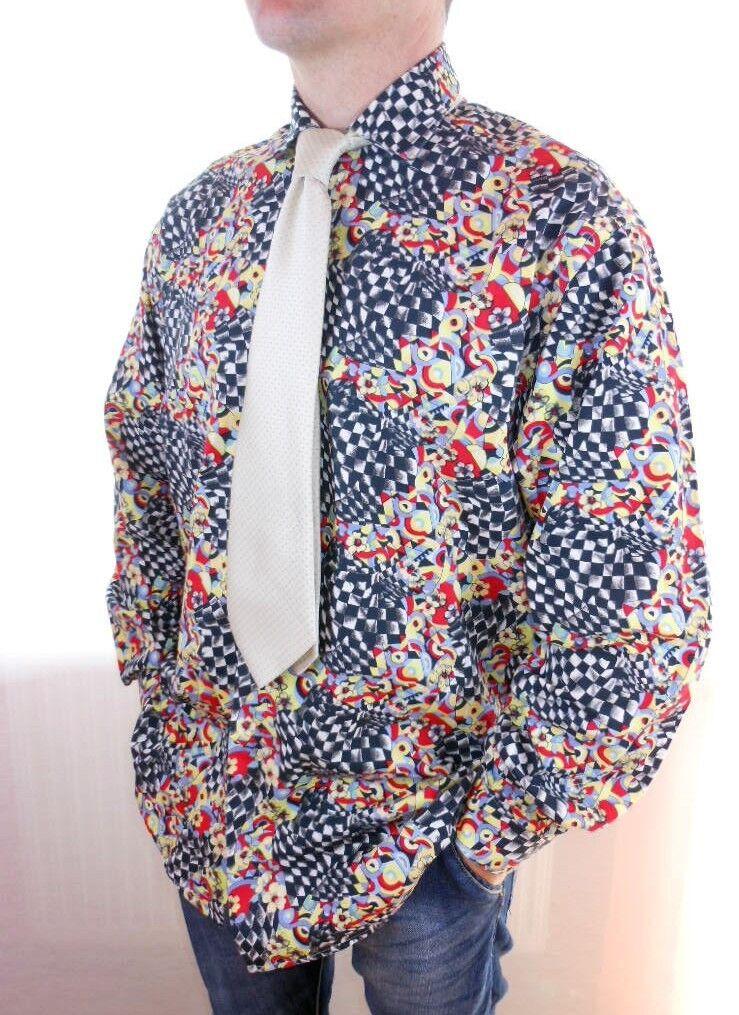 Versace Mens Vtg Collector Cotton Casual Fashion Print Shirt Größe L 42 16.5  Z53     Elegante und robuste Verpackung