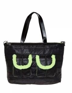 7709b4f1a30d WALKING MUM Quilted Faux Fur Shoulder Changing Bag Black New RRP £72 ...