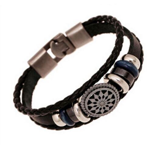 100/% Echt Leder Surfer Style Vintage Armband Herren Männer Geschenk Neu