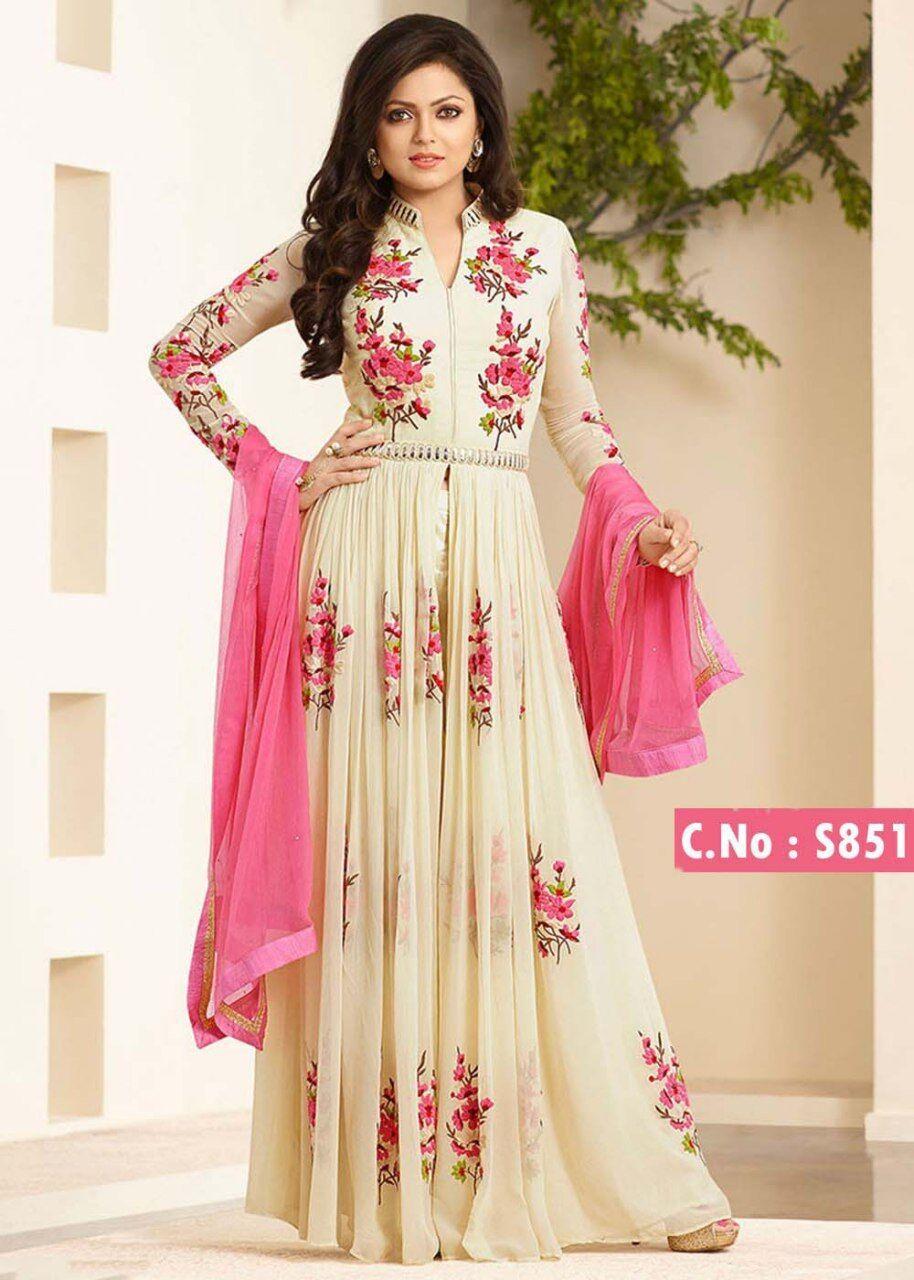 Indian Designer Anarkali Salwar Kameez Style Designer Slawar Suit Duppta White