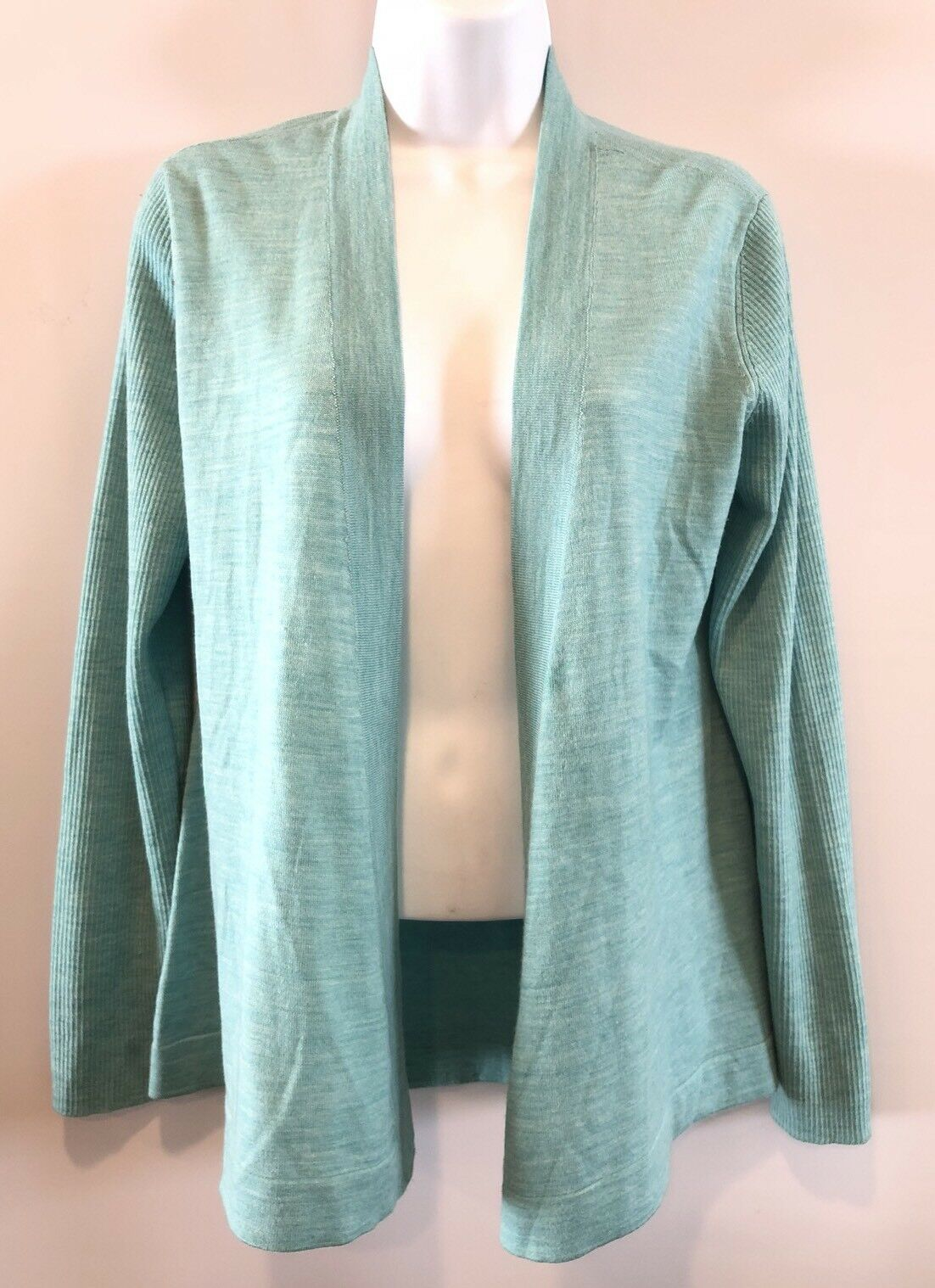 Eileen Fisher Turquoise bluee Green Merino Wool Ribbed Open Front Cardigan Small