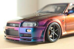 1/18 Autoart Nissan Skyline R34 GT-R Midnight Violet 3 modifié Custom