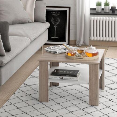Tavolino Da Salotto Soggiorno Caffe Moderno Quadrato 60x60 Con Ripiano Bicolore Ebay