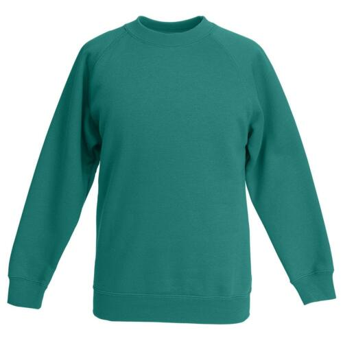 Fruit Of The Loom Kids Raglan Sweatshirt Crew Neck Cotton Sweats Top UK