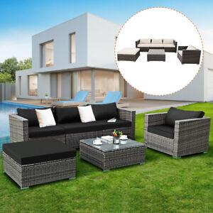 6pc Furniture Set Steel Patio Sofa Pe Gray Rattan Couch 2