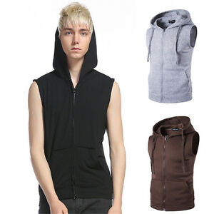 Men-Casual-Hoodie-Sleeveless-Zipper-Jacket-Vest-Waistcoat-Hooded-Coat-Tank-Tops