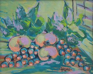 Stilleben-mit-Apfeln-und-Trauben-Expressionist-signiert