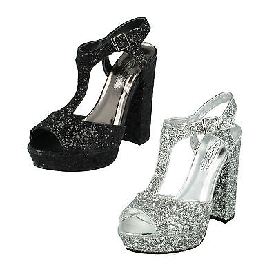 Silver Spot On Glitter Heeled Sanndals Ladies Black Shoes F10567