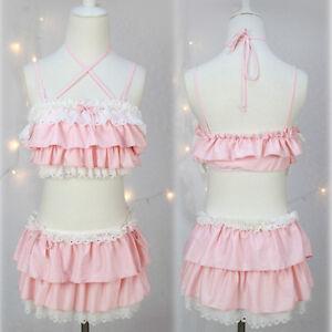 8dc7777b25f60 Image is loading Sexy-Kawaii-Lace-Falbala-Bikini-Japanese-Sweet-Lolita-