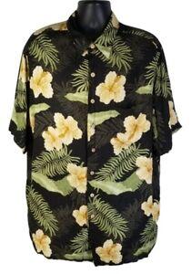 Caribbean-Mens-Hawaiian-Shirt-Black-Floral-2XLT-Tall