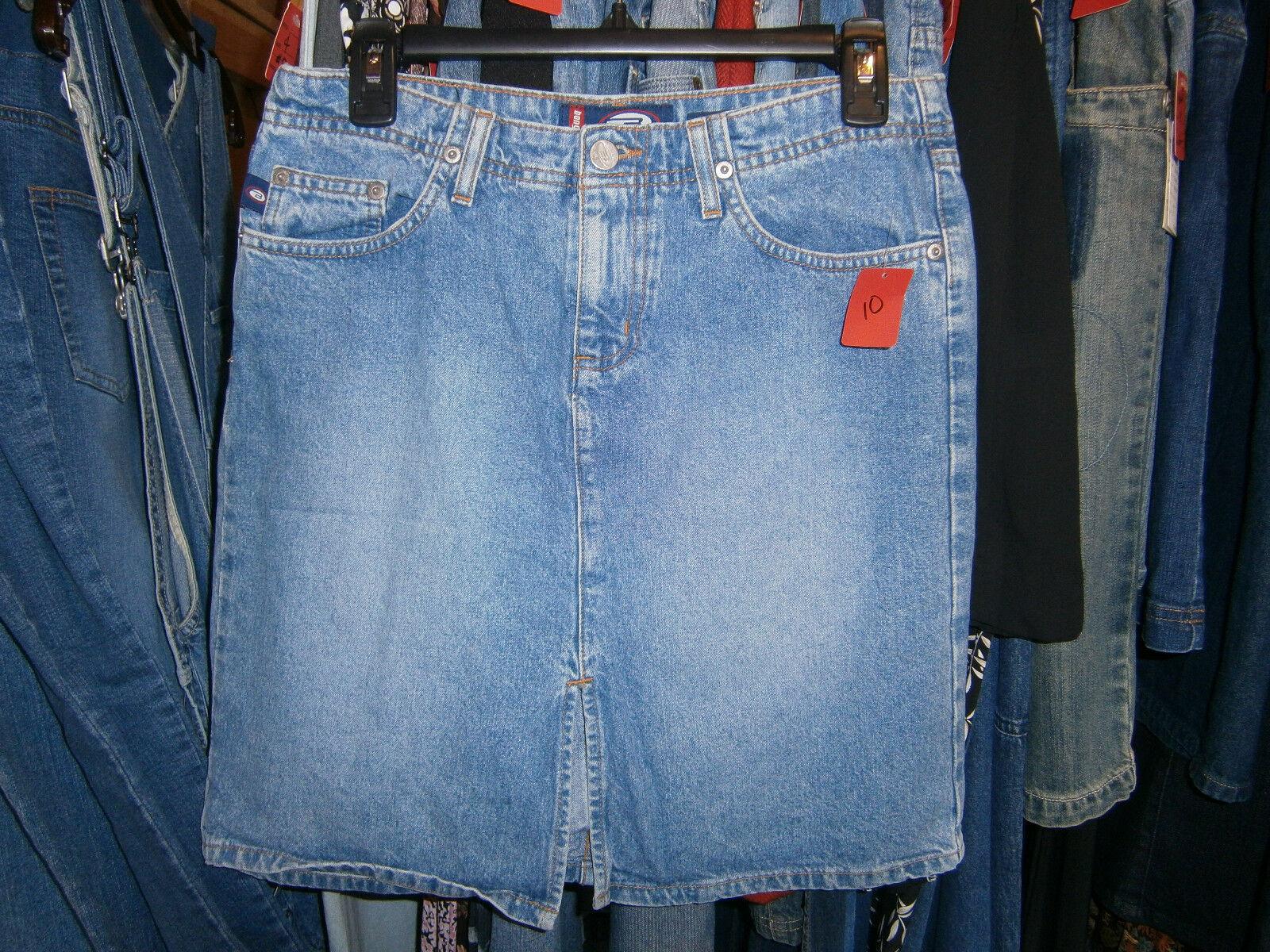 Bongo Junior's Size 5 Denim Pencil Skirt Washed Front Slit 100% Cotton