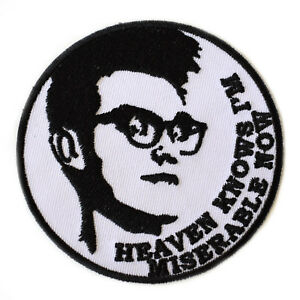 Morrissey-The-Smiths-Iron-On-Patch-Embroidered-Heaven-Knows-I-039-m-Miserable-Now