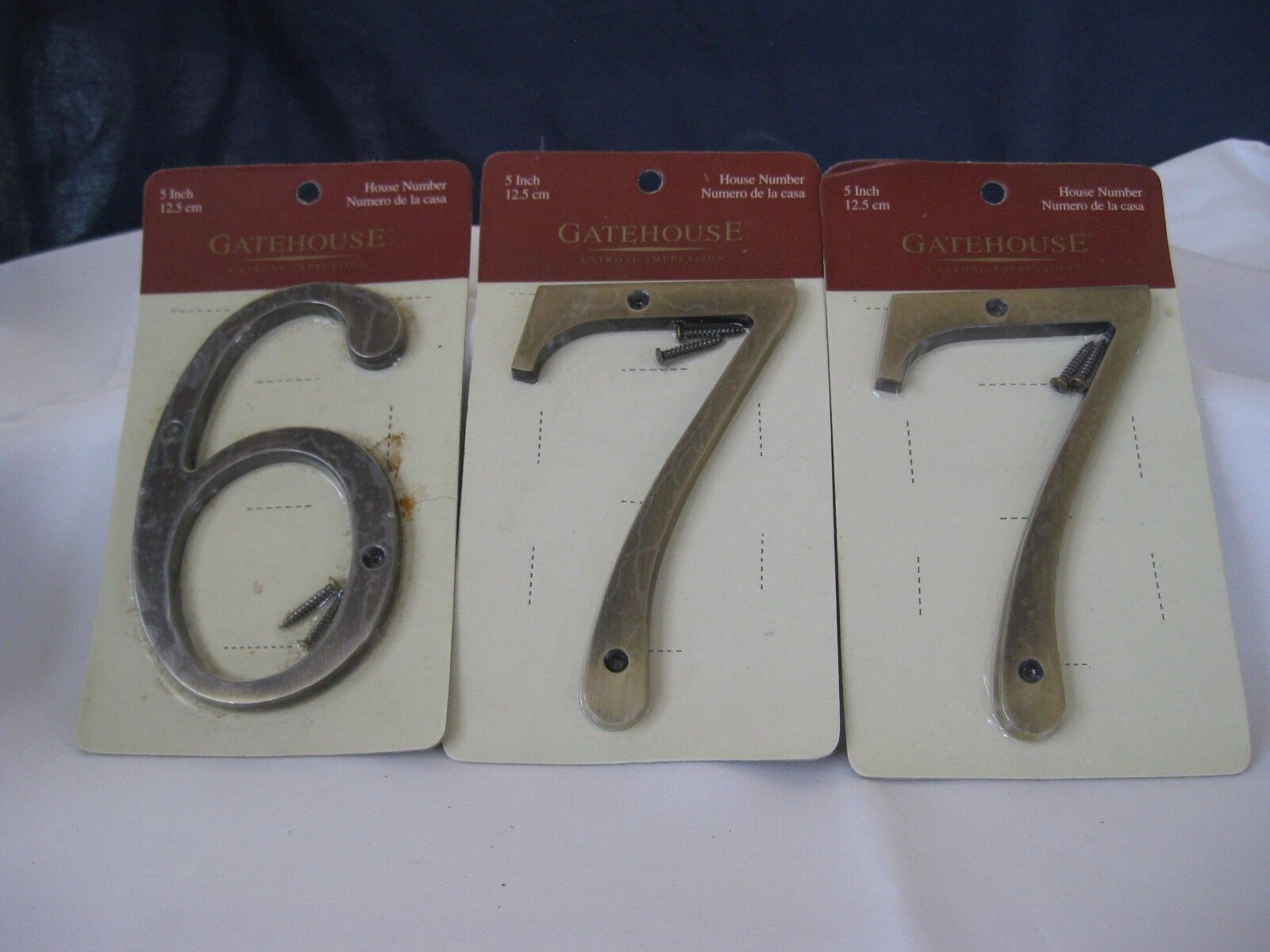 House Numbers NIB #6 and (2) #7 Zinc w/Antique Brass Finish
